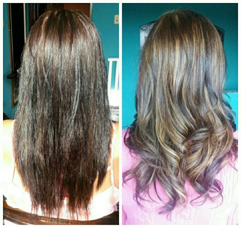 Luzes no cabelo com comprimento e pontas saturados de coloração preta. cabelo estudante (cabeleireiro)