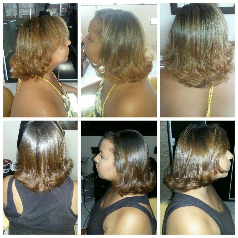 Reflexo na touca hidratacao escova e prancha. cabelo cabeleireiro(a)
