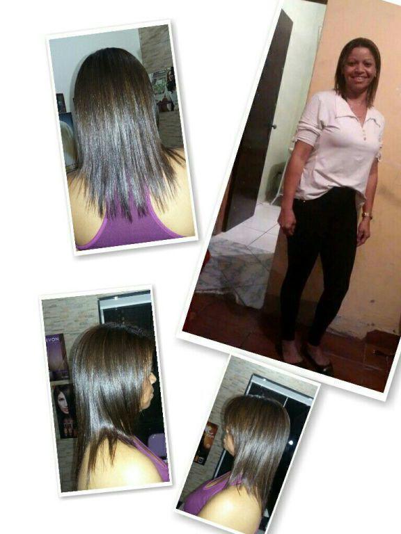 Coloracao loiro escuro corte hidrtacao escova e prancha. cabelo cabeleireiro(a)