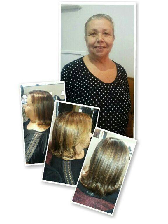 Coloração loiro escuro reflexo na touca hidratação escova e prancha. cabelo cabeleireiro(a)