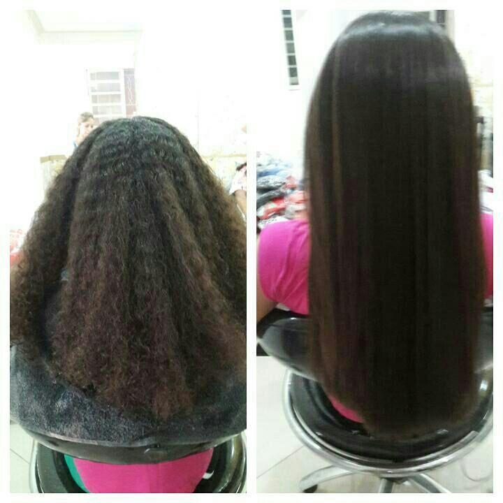 Antes  e depois  Progressiva sem formol  Botânica cabeleireiro(a)