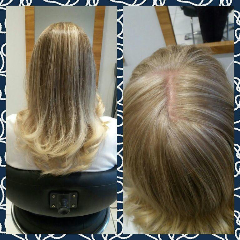 Luzes bem próximas da raíz sem manchas. cabelo cabeleireiro(a)