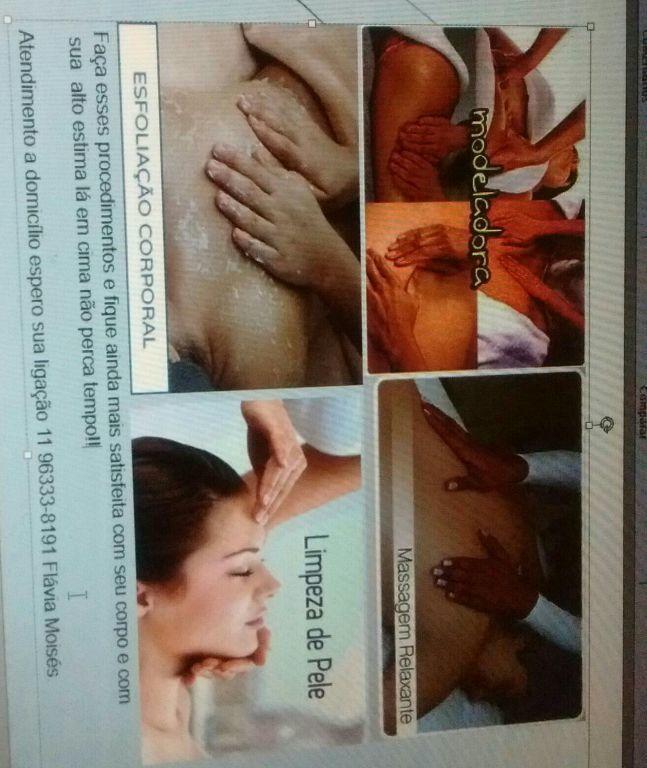 Limpeza de pele  Massagens modeladora e relaxante  Esfoliação corporal e facial estética estudante recepcionista