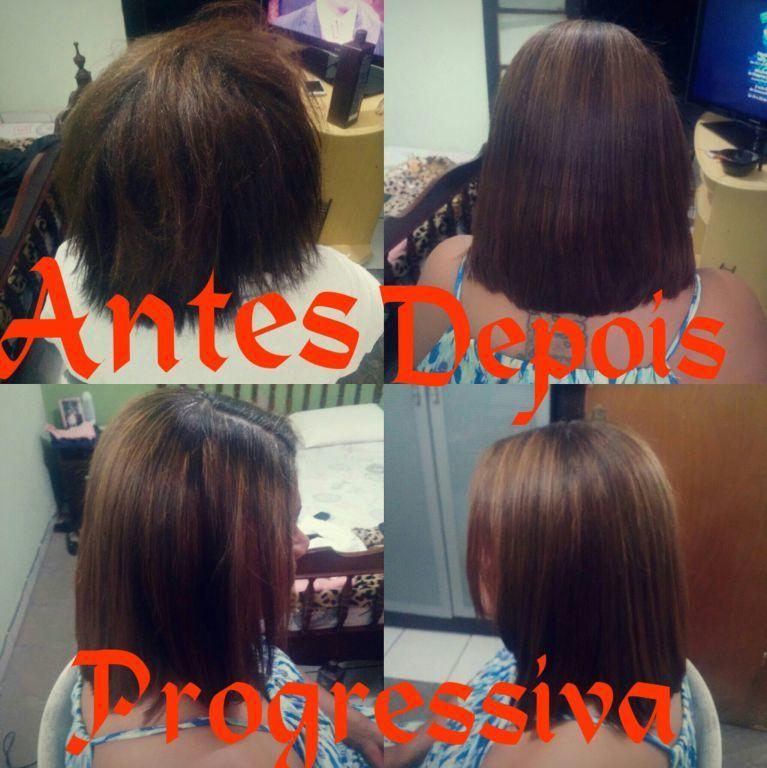 Progressiva mais escova. cabelo auxiliar cabeleireiro(a)