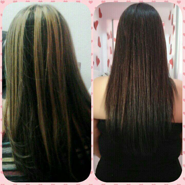 Antes manchado depois cabelo escuro cor corrigida cabelo cabeleireiro(a) designer de sobrancelhas maquiador(a)