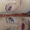 Treinando facechart...  Fiz na perna com maquiagem... #facechart #arte #makeupartistica