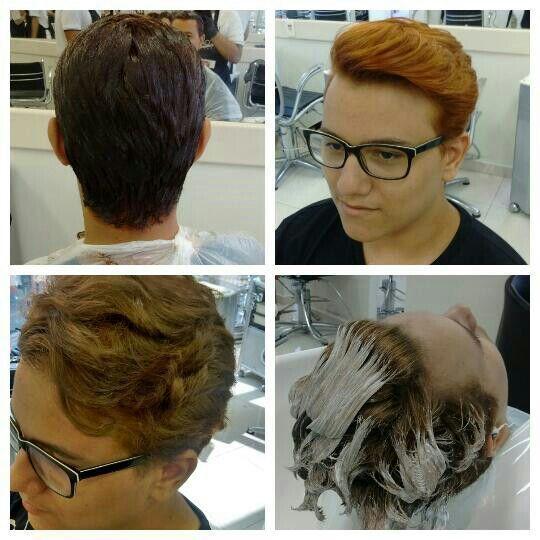 Feito limpeza da cor e mordançagem no comprimento, raiz e pontas cabelo cabeleireiro(a)