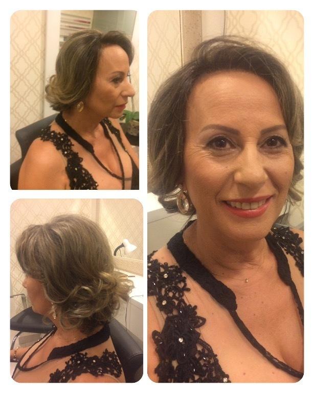 Make pele madura e escova modelada para cabelos curtos. cabelo cabeleireiro(a) maquiador(a)