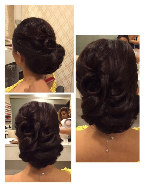 Penteado preso em camadas em forma de pétalas.  cabelo cabeleireiro(a) maquiador(a)