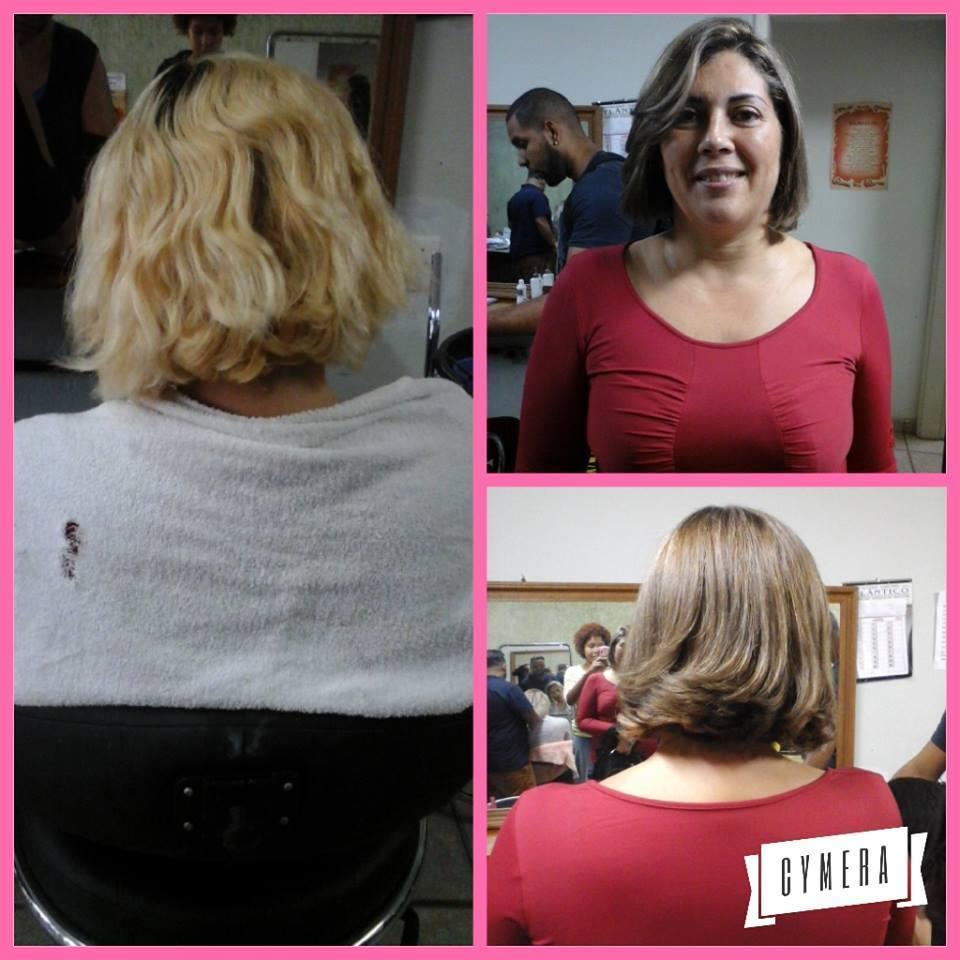 Trabalho de conexão, técnica que consiste em escurecer e clarear os cabelos simultaneamente. cabelo auxiliar cabeleireiro(a) revendedor(a) vendedor(a) atendente