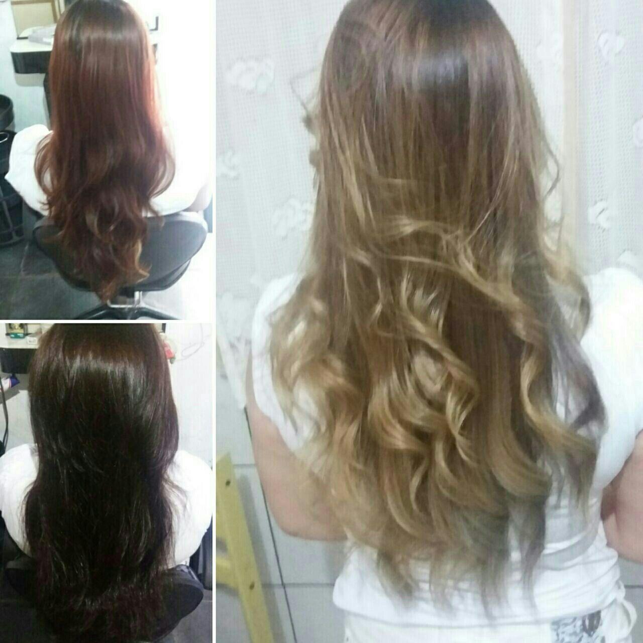 Ombre hair do vermelho ao loiro. cabelo cabeleireiro(a)