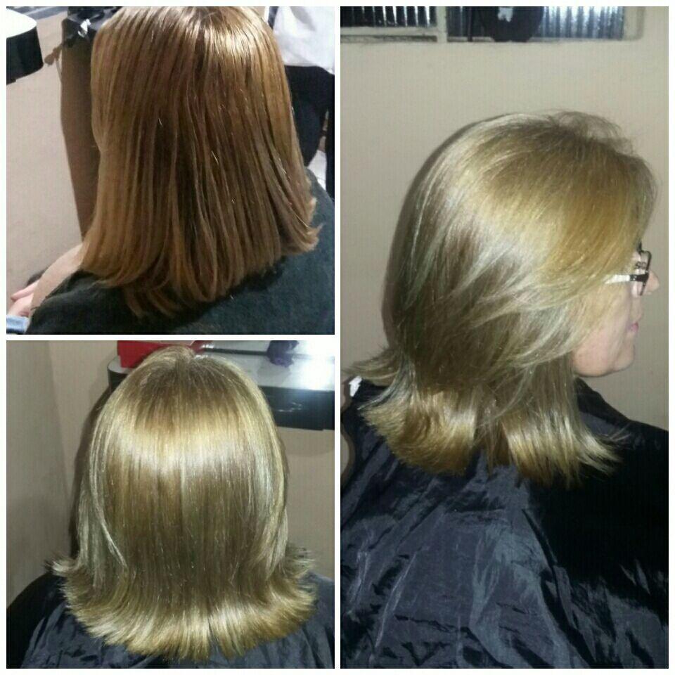 Corte e  Luzes champanhe. cabelo cabeleireiro(a)
