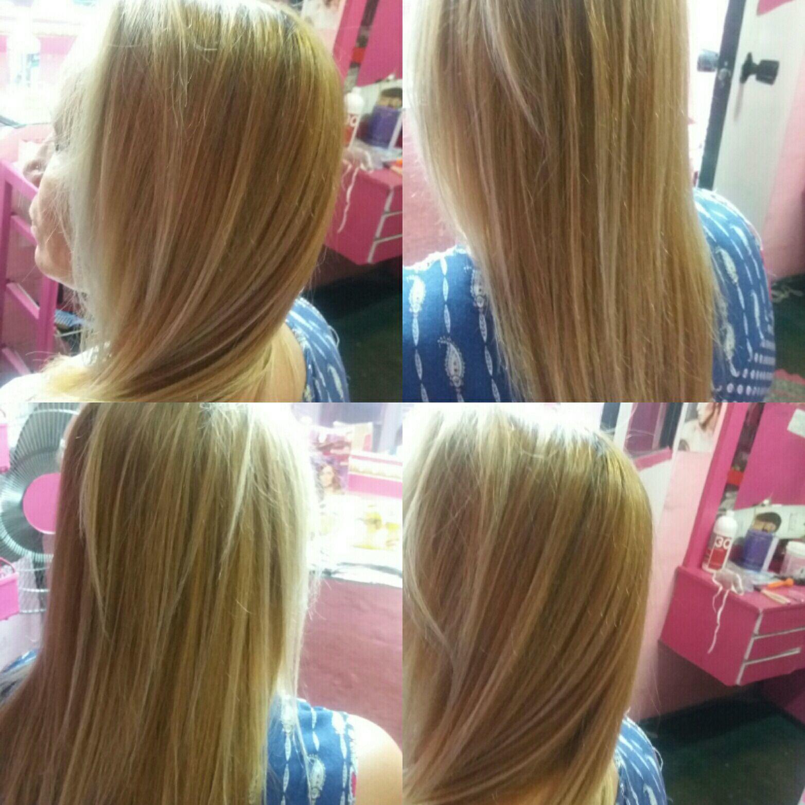 Esse cabelo era um castanho claro,usei o descolorante com ox 40 e matizei  usei o 12.11 com meio cm de 01 e 1 cm de verde fiz uma reconstrução  É a cliente amou. cabelo cabeleireiro(a)