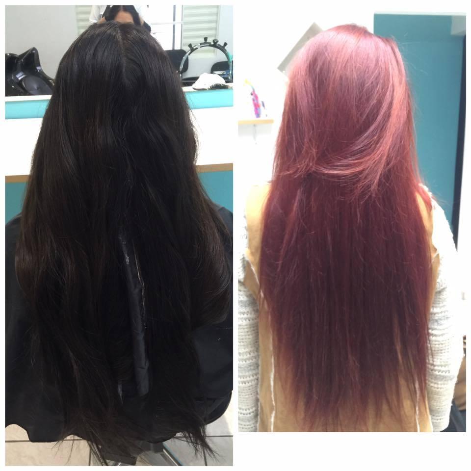 Cabelo com coloração preta, onde foi feita uma limpeza de cor, até um fundo alaranjado, e aplicado coloração 6646 cabelo auxiliar cabeleireiro(a) auxiliar administrativo