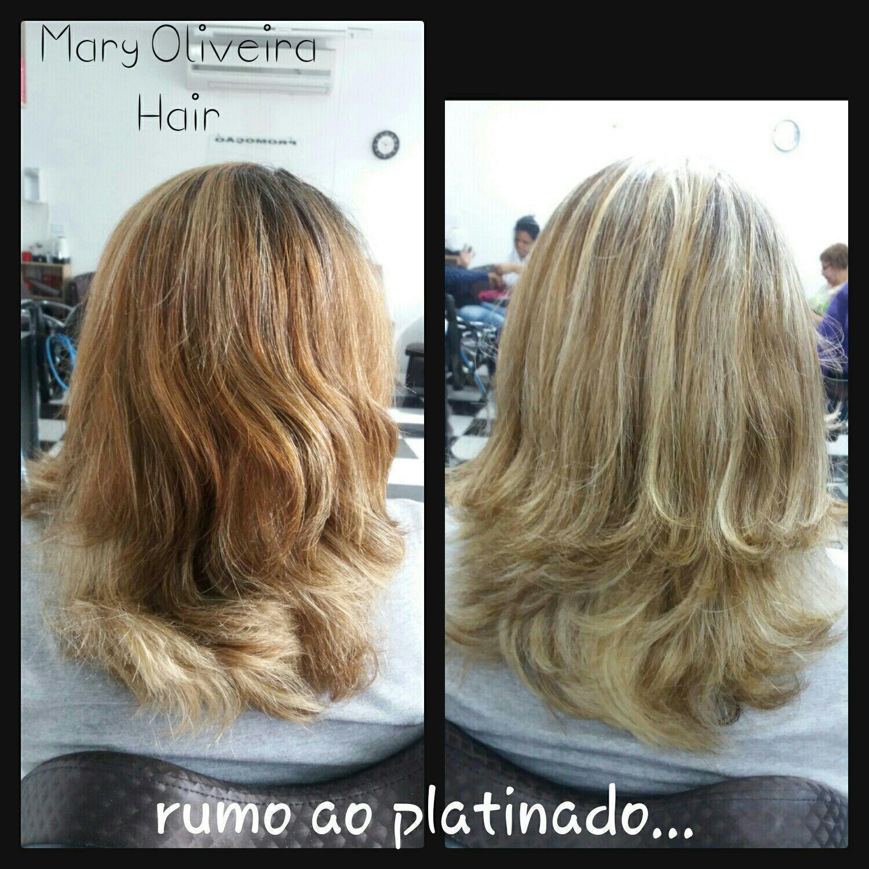 Primeira seção rumo ao platinado. cabelo cabeleireiro(a)