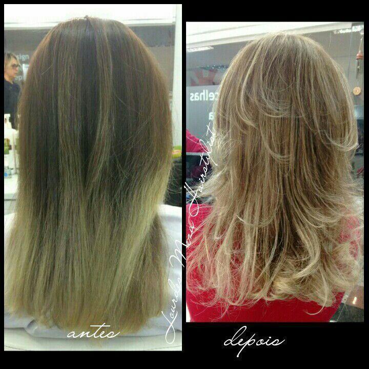 Correção de mechas e corte em camadas. cabelo cabeleireiro(a)
