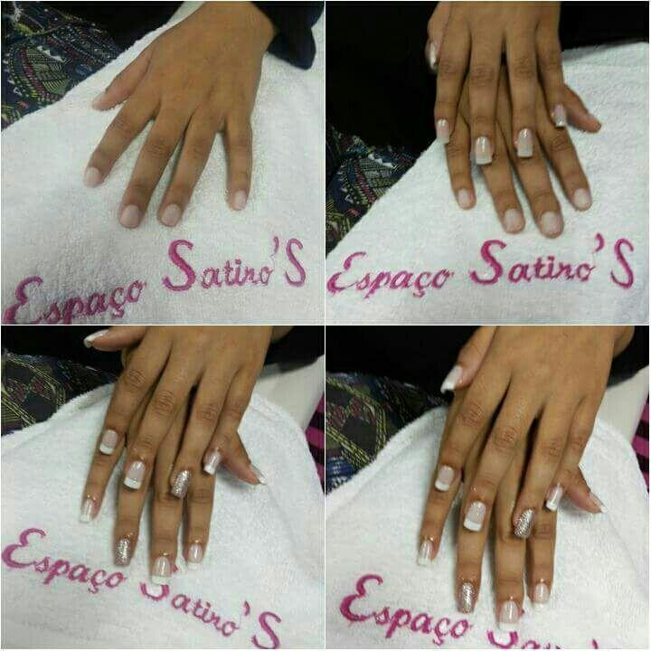 Antes durante e depois. Unhas de gel recepcionista auxiliar cabeleireiro(a) manicure e pedicure