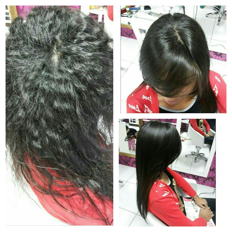 Antes durante e depois. Escova progressiva recepcionista auxiliar cabeleireiro(a) manicure e pedicure