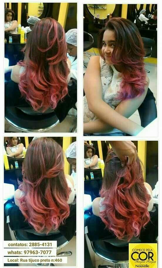 Ombré hair rosa e corte . cabelo auxiliar cabeleireiro(a) auxiliar cabeleireiro(a) cabeleireiro(a)