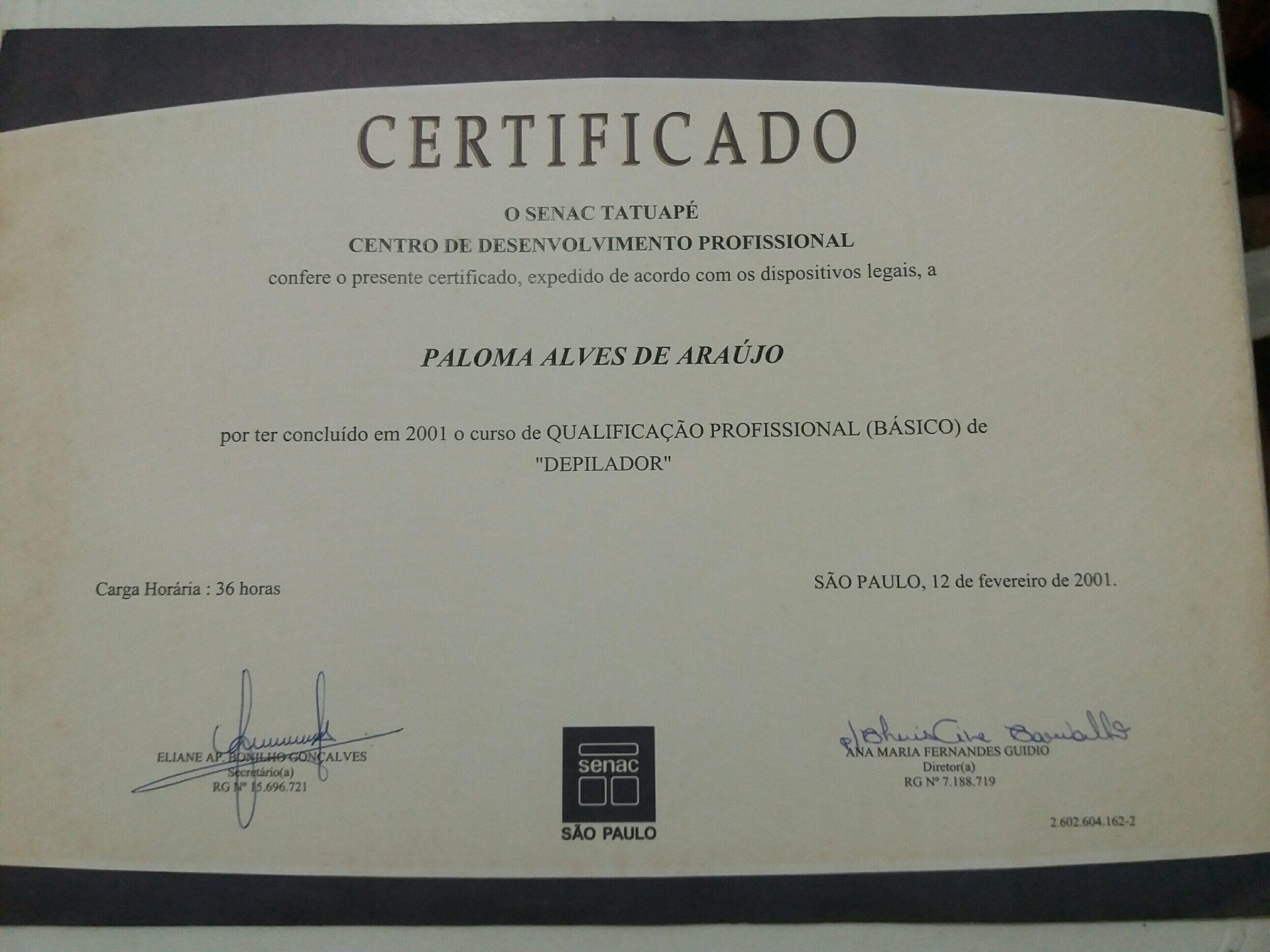 Certificado outros depilador(a)