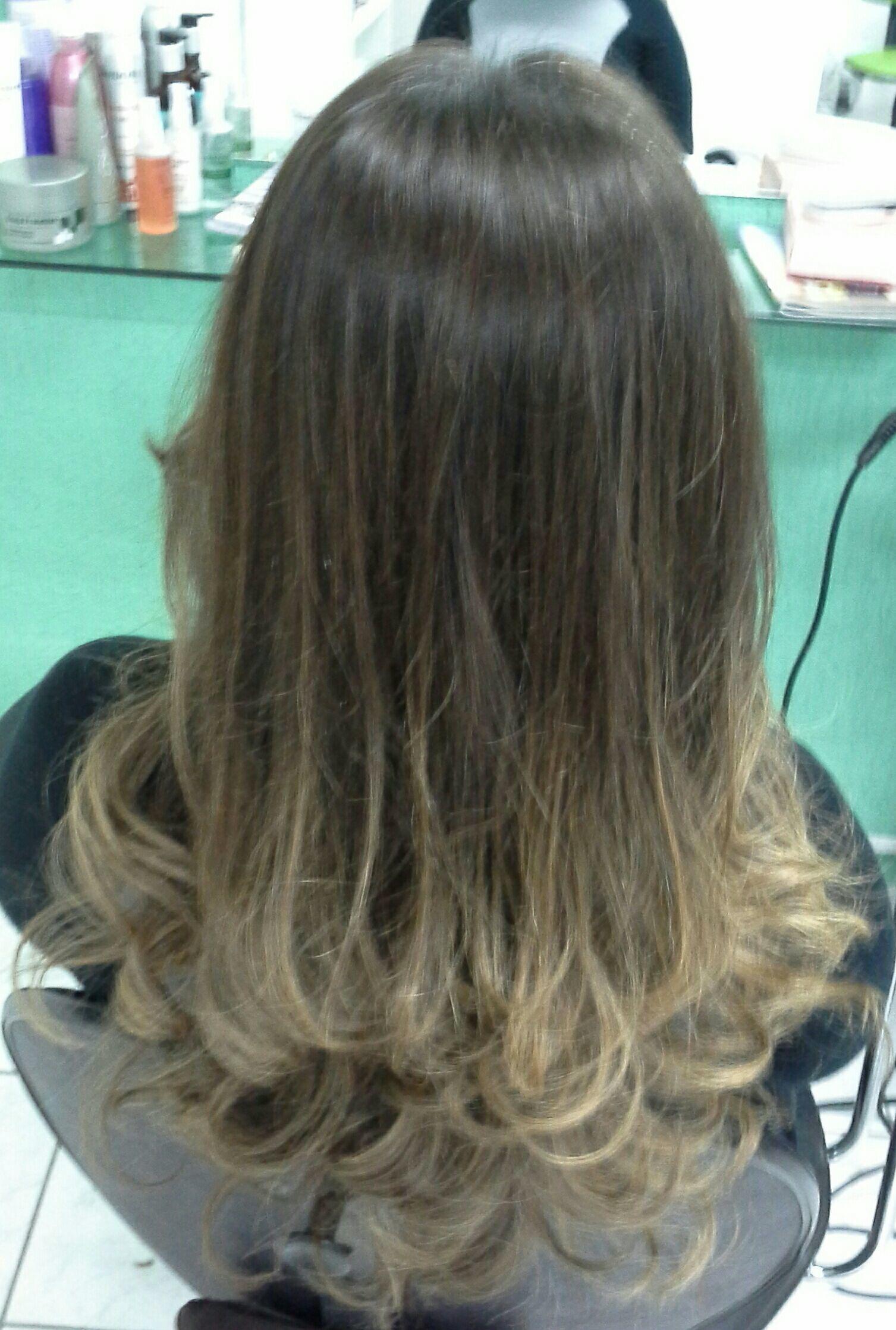 Ombre hair cor mel  e corte em  degradê  , técnica  pivot  point cabelo stylist / visagista cabeleireiro(a)