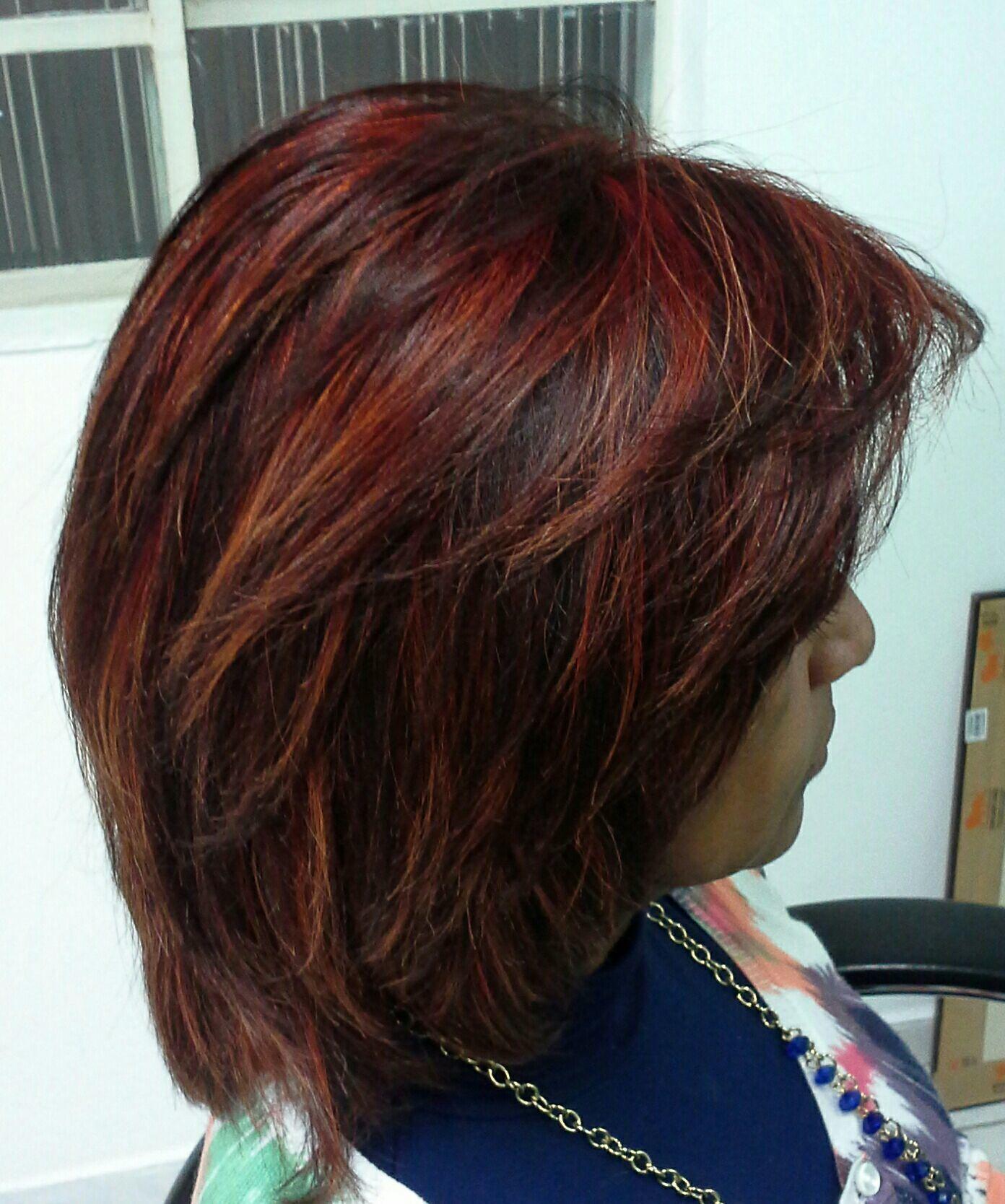 Cor vermelho  com luzes  ton sobre  ton atitude cabelo stylist / visagista cabeleireiro(a)