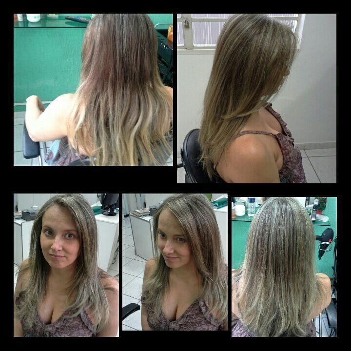 Correção de cor,  luzes pérolas  corte degradê simétrico cabelo stylist / visagista cabeleireiro(a)