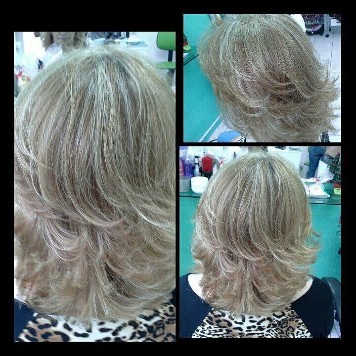 Luzes  pérolas corte degradê simétrico Vera visagista, cabelereira cabelo stylist / visagista cabeleireiro(a)
