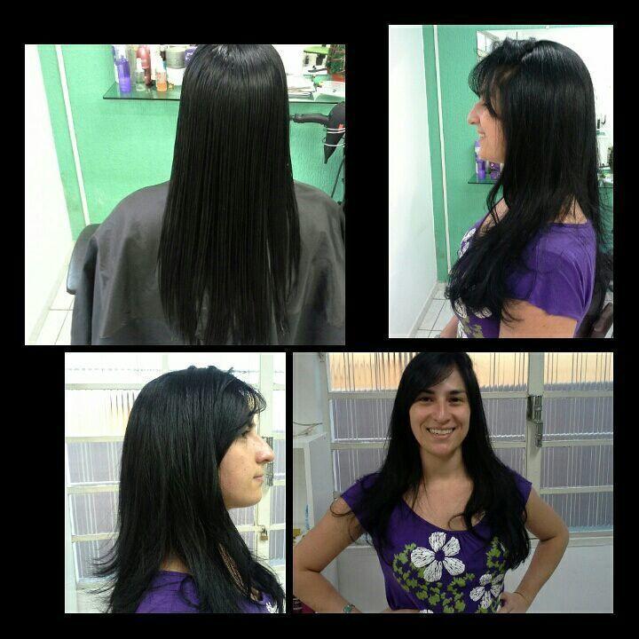 Corte  longo  em  degradê  escova modelada Veravisagista cabelo stylist / visagista cabeleireiro(a)