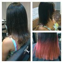 Correção de cor fantasia. #redhair #brownhair #mechas #correção #hair #progressiva cabelo cabeleireiro(a) maquiador(a) barbeiro(a)