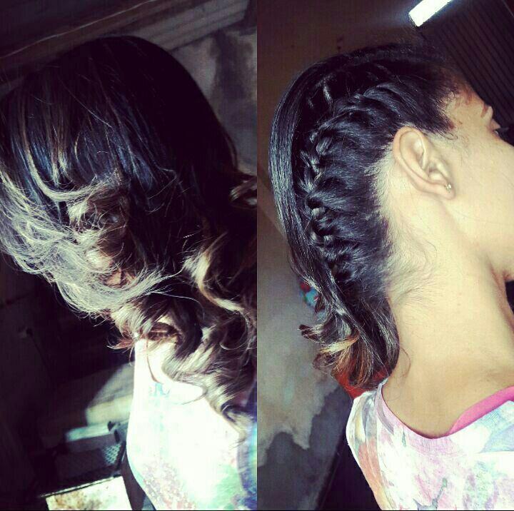 Penteado Lateral com trança embutida e Cachos. cabelo auxiliar cabeleireiro(a)