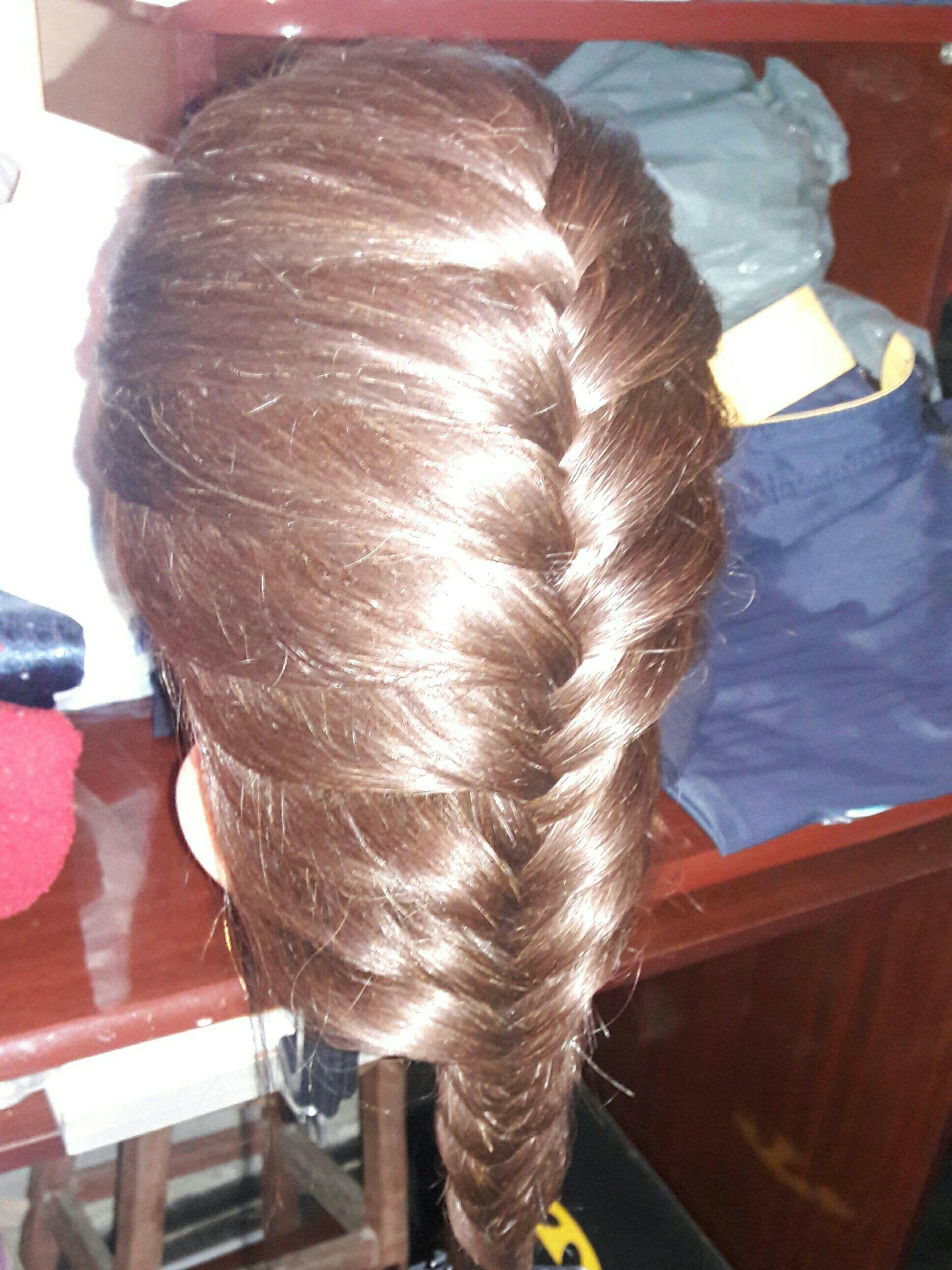 Trança Embutida Escama De Peixe Na Cabeça de Boneca! cabelo auxiliar cabeleireiro(a)