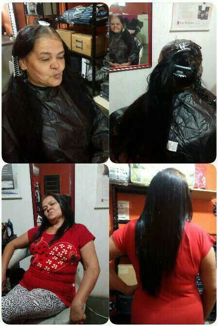 Pintei  depois Hidratei e Finalizei com escova. cabelo auxiliar cabeleireiro(a)