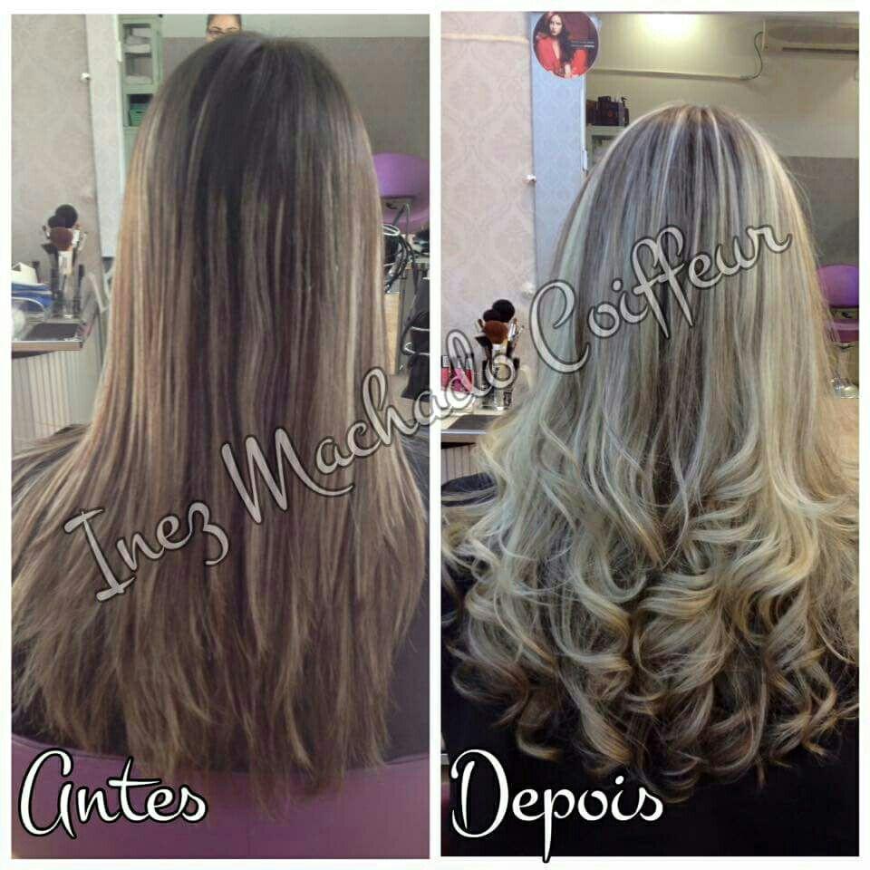 Transformação antes e depois mechas platinadas. Corte repicado longo (comprido) escova modelada com cachos. cabelo cabeleireiro(a) stylist / visagista