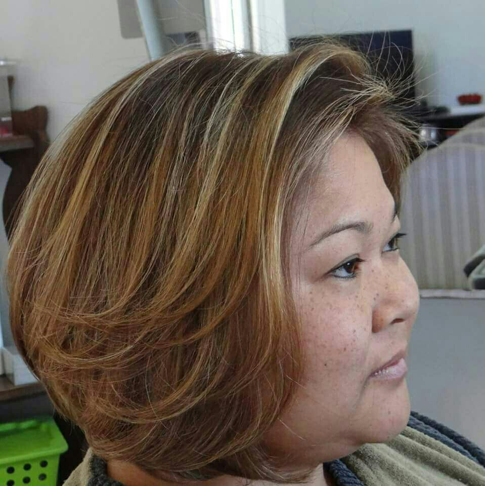Coloração de raiz. Mechas iluminadas. Corte chanel iluminado. Escova. cabelo cabeleireiro(a) stylist / visagista