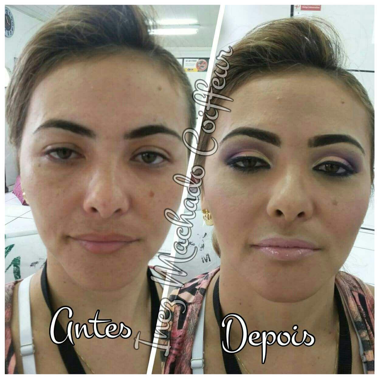 Antes e depois Maquiagem. Técnicas contorno. Delicada com tons rosa maquiagem cabeleireiro(a) stylist / visagista