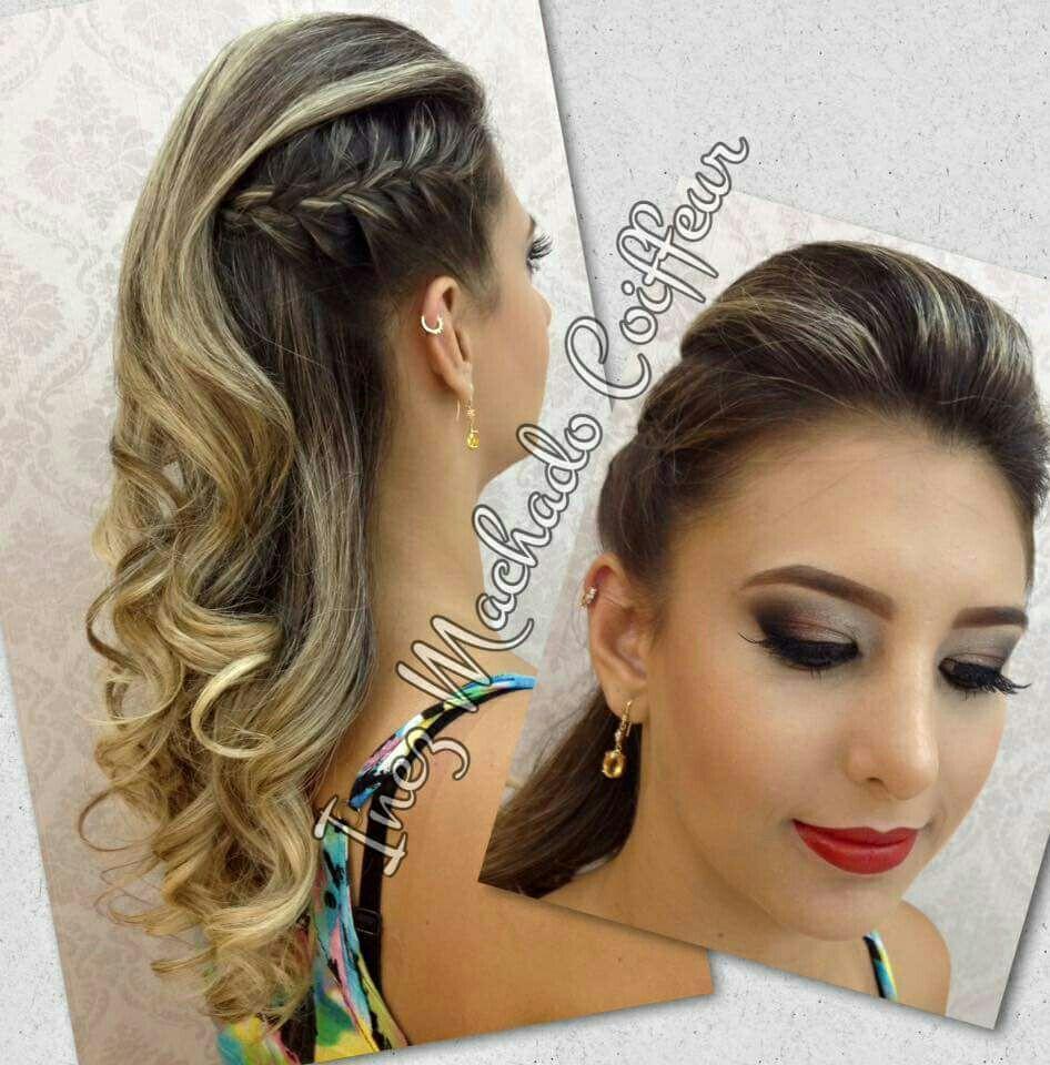 Penteado moicano, com trança e cachos. Formatura. Make up cabelo cabeleireiro(a) stylist / visagista