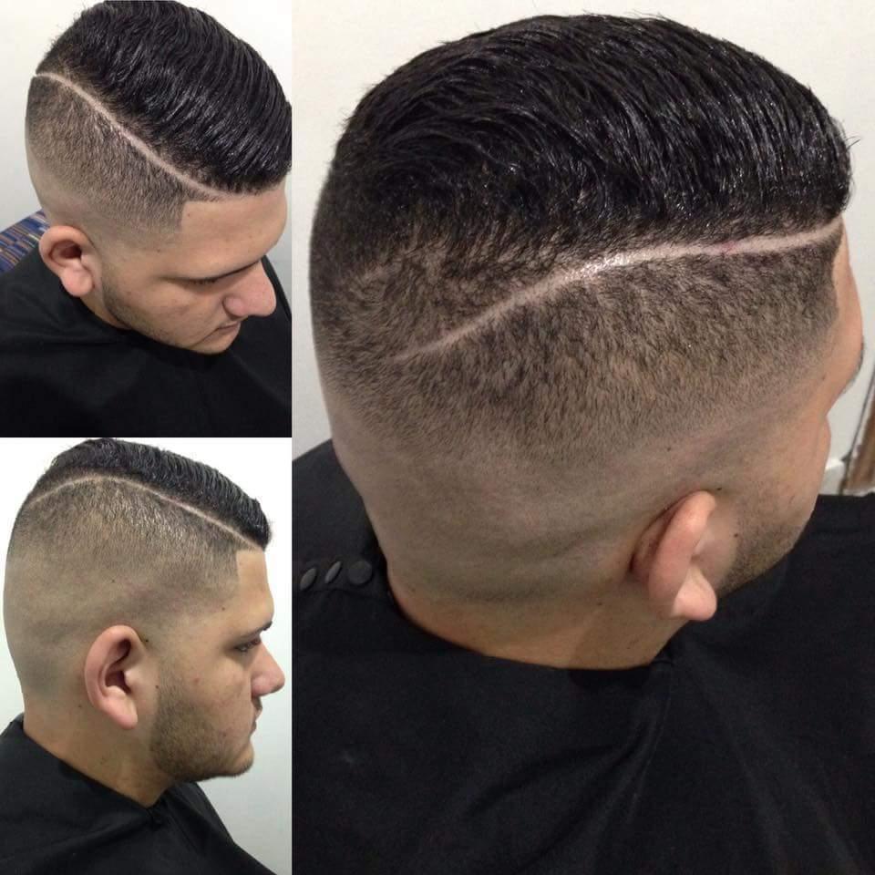 Corte Fade com Navalha para o Lado risca lateral ! cabelo