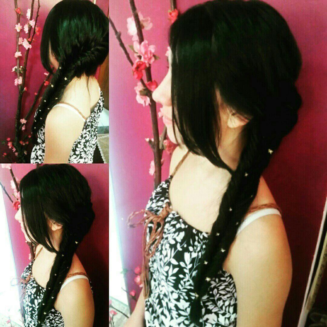 Escama de peixe embutida lateral. cabelo cabeleireiro(a)