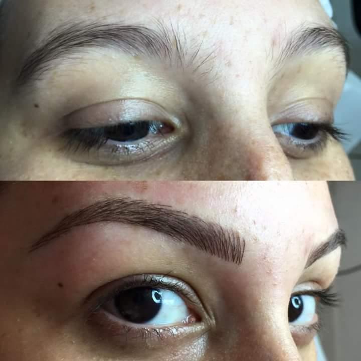 Antes e depois da técnica microblanding fio a fio nas sobrancelhas  estética esteticista naturólogo(a) micropigmentador(a)