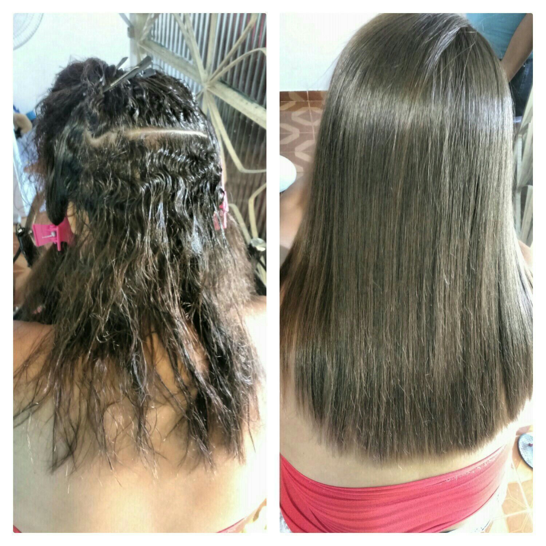 Antes e depois  Progressiva cabelo cabeleireiro(a)