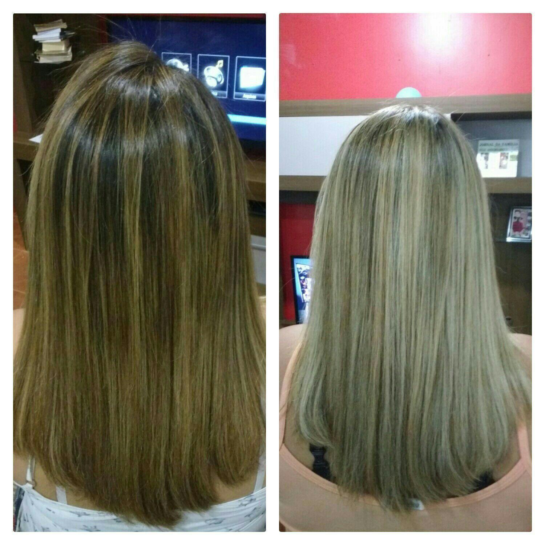 Antes e depois  Mechas no papel cabelo cabeleireiro(a)
