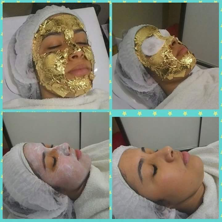 Limpeza de pele com laminas de ouro  estética esteticista