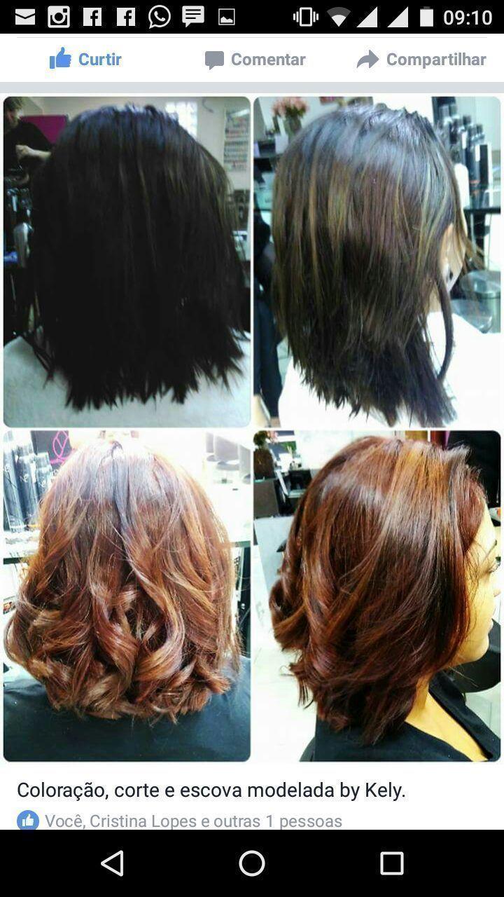 Corte, coloração e escova modelada!! cabelo cabeleireiro(a)