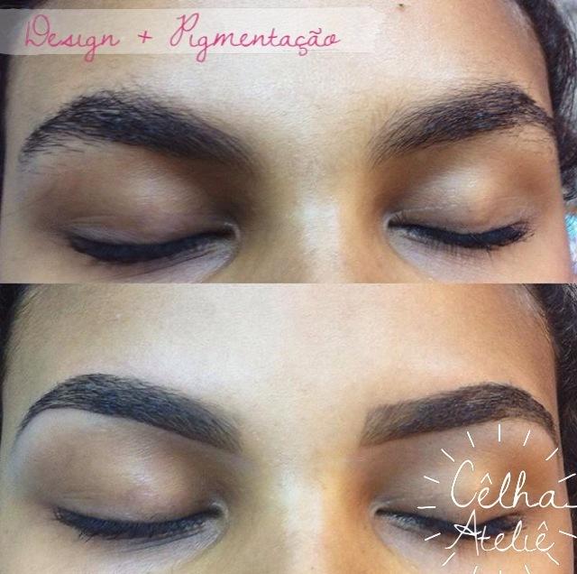 Design de sobrancelhas  mais aplicação de pigmentação. outros designer de sobrancelhas maquiador(a)