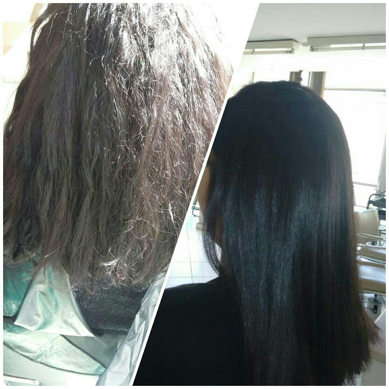Alisamento,  antes e depois. cabelo auxiliar cabeleireiro(a)