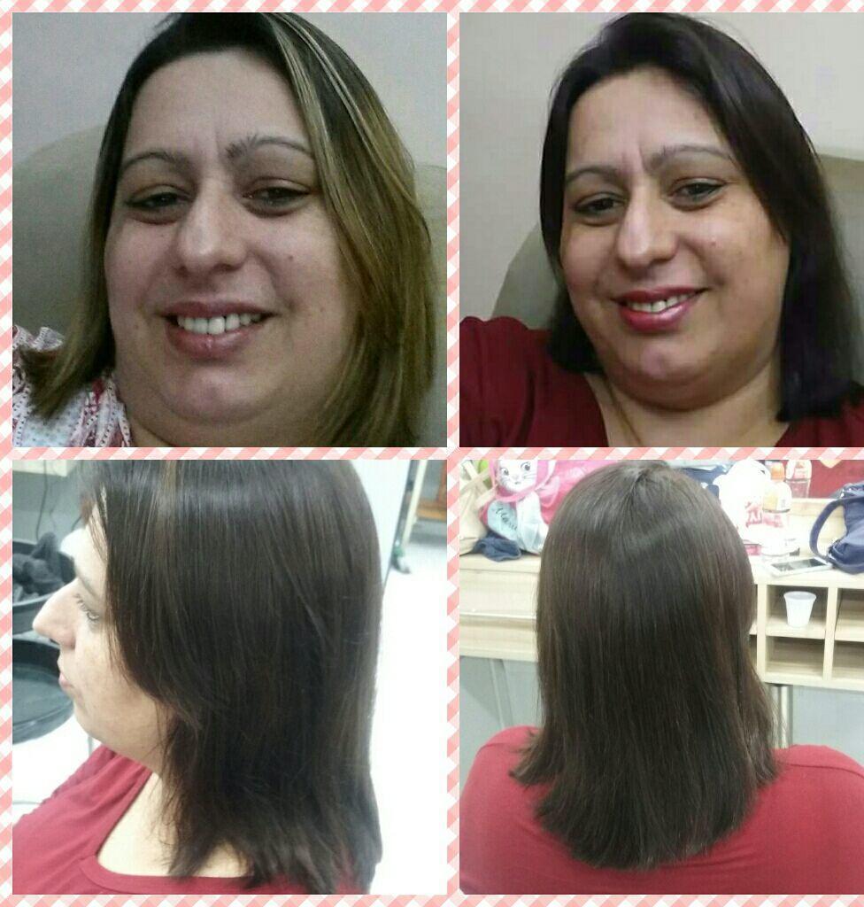 O cabelo da cliente estava com luzes foi feito uma coloração  4.7 e corte arredondado. cabelo auxiliar cabeleireiro(a)