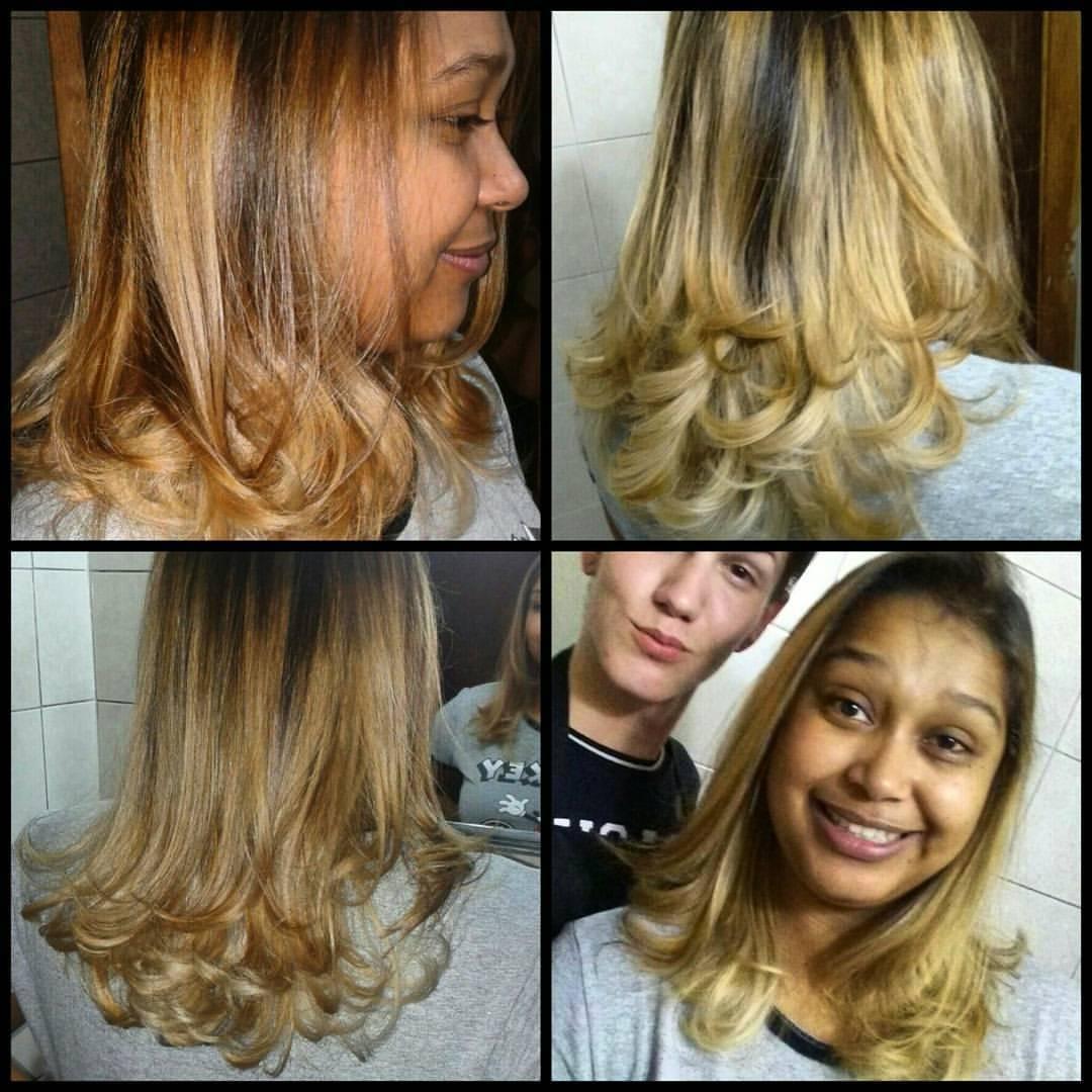 Ombré Hair #GoldLights #Corte cabelo auxiliar cabeleireiro(a) escovista recepcionista