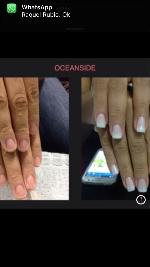 Antes e depois unha de gel. unha manicure e pedicure