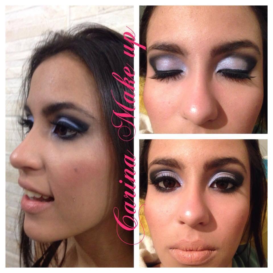Maquiagem cut crease, com pigmento branco furta cor e esfumaçado preto, boca nude para realçar os olhos. Essa make pode ser usada em noivas, madrinhas, debutantes, para festas, baladas.  maquiagem maquiador(a) esteticista